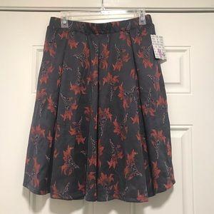 NWT Lularoe Madison Skirt - Gray / Red Flowers - M